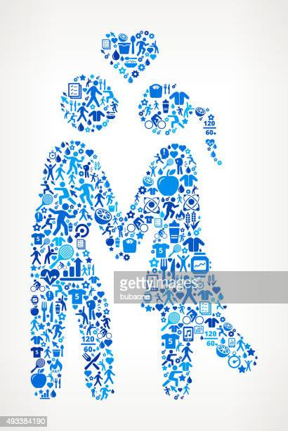 Couple in LoveFitness and Diet Icon Pattern