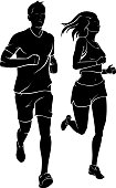 Isolated vector illustration of full body silhouette of active lifestyle