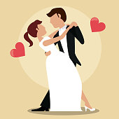 couple just married dancing vector illustration eps 10