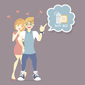 couple lover, man and woman with condom, prevention of hiv, aids, sexually transmitted diseases, safe sex concept,flat cartoon character design vector illustration