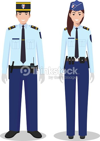 Couple Of French Policeman And Policewoman In Traditional