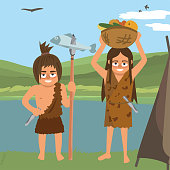 couple of primitives near hut at natural landscape,  vector cartoon illustration in flat style