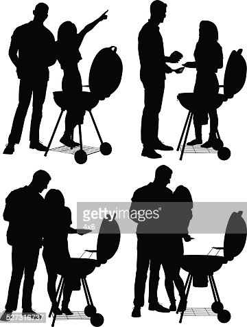 couple on a barbecue vector art getty images