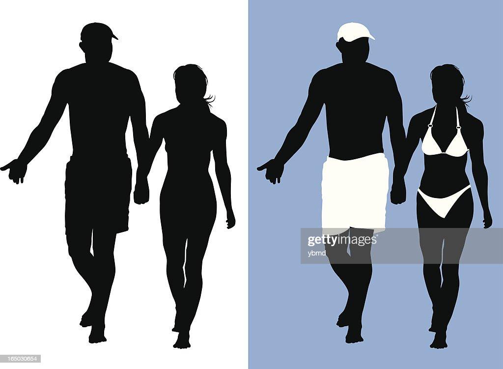 Couple on the Beach (vector) : Vector Art