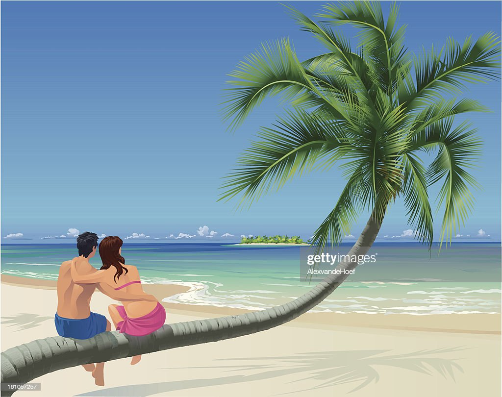 Couple, Palm Tree and Tropical Beach : Vektorgrafik