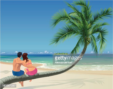 Couple, Palm Tree and Tropical Beach : Vector Art