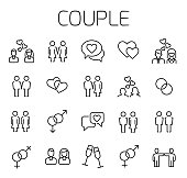 Couple related vector icon set. Well-crafted sign in thin line style with editable stroke. Vector symbols isolated on a white background. Simple pictograms.