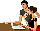 Couple using a laptop. AI10 EPS file, contains transparencies.