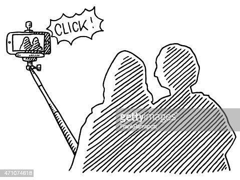 couple using selfie stick for smart phone photography drawing vector art getty images. Black Bedroom Furniture Sets. Home Design Ideas