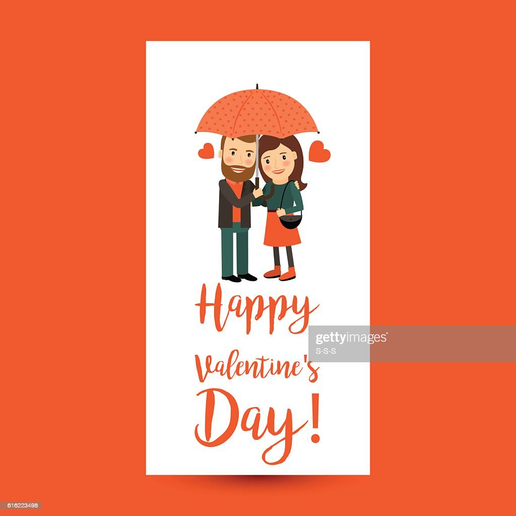 Couple with umbrella Valentines Day flyer : Vector Art