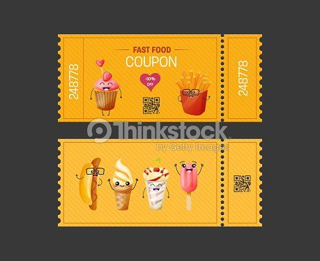 Coupon fast food. Gift Voucher ticket card. Coupon food, drink