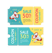 Coupon Sale with Megaphone Isolated on White Background. Vector illustration
