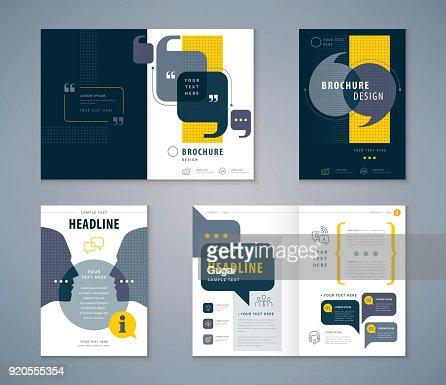 Cover Book Design Set, Speech Bubbles Background vector Template Brochures : stock vector
