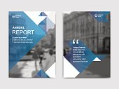 Annual report, flyer, presentation, brochure. Front page report , book cover layout design. Design layout template in A4 size . Abstract blue transparent polygons cover templates