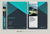 Cover design annual report,vector template brochures, flyers, presentations, leaflet, magazine a4 size. Green abstract background