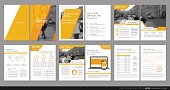 Cover design annual report,vector template brochures, flyers, presentations, leaflet, magazine a4 size. Orange polygons on a white background