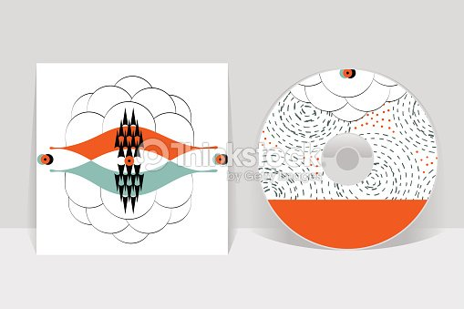 cd cover design template abstract linear pattern graphics vector art