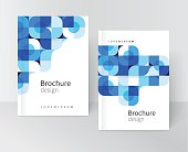 cover design for Brochure leaflet flyer. Geometric Abstract background White blue and black squares and circles. stock-vector EPS 10