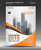 Cover Desk calendar 2018 year template, horizontal paper, Business brochure flyer layout, cover design, Book cover, Magazine, advertisement, newsletter, Pinted media, flyer, advertisement, vector