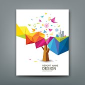 Cover report tree colorful geometric with bird paper with business icons concept design background, vector illustration