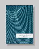 Cover template of line art design. Abstract light lines pattern on dark teal background. Tech wavy vector layout A4 with text box for book, brochure, portfolio, leaflet, annual report, poster, flyer.