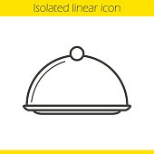Covered dish linear icon. Restaurant food serving dish platter with lid. Thin line. Vector