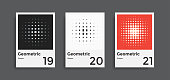 Minimal abstract posters set. Covers templates collection with graphic geometric shapes elements. Applicable for brochures, posters, covers and banners. Vector illustrations