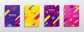 Covers with geometric pattern. Bright top or front of book, magazine for information about a product, service, advertising material. Vector flat style cartoon illustration isolated on black background