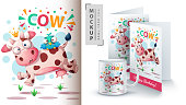 Cow and bird - mockup for your idea. Vector eps 10