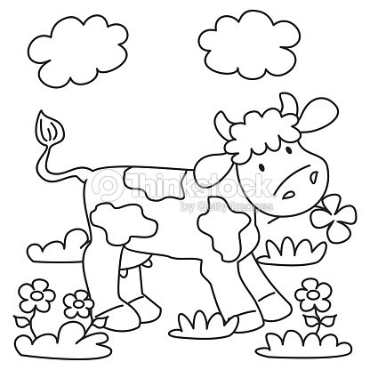 Cow Coloring Book Vector Art | Thinkstock