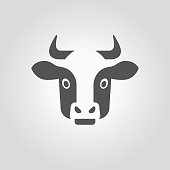 Vector illustration with modern black horned dairy cow head in minimalistic style .
