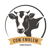 Cow head silhouette emblem logo label. Vector illustration.