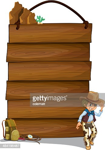 Cowboy y la madera vacía signboards : Arte vectorial