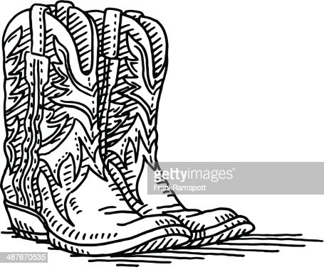 Cowboy Boots Pair Drawing Vector Art Getty Images