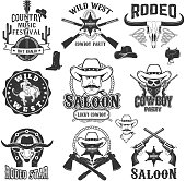 Cowboy rodeo, wild west labels. Country music party.  Design elements for label, emblem, sign, badge.