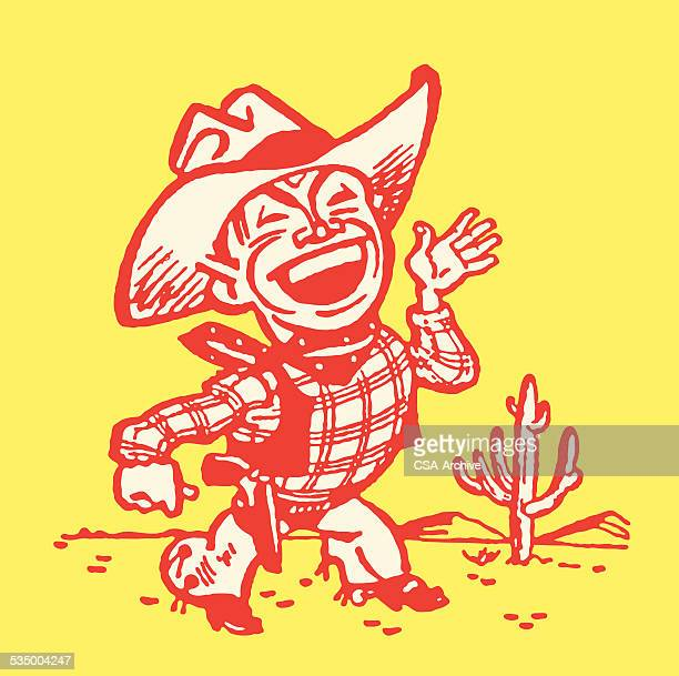 Cowboy Waving from Desert