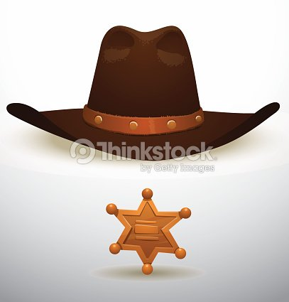 533f1f469f7 Cowboys Hat And Sheriffs Star Vector Art