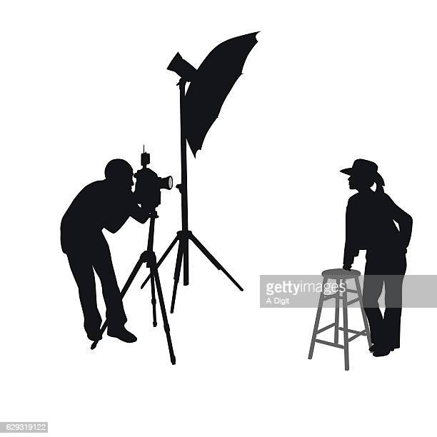 Cowgirl Photo Shoot Silhouette Vector