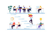 Coworking Space Concept. Coworkers Characters Team Working. Office Employees Working with Laptop and Computer. Business People. Vector illustration