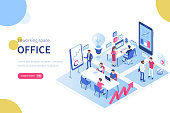 People in coworking office concept design. Can use for web banner, infographics, hero images. Flat isometric vector illustration isolated on white background.