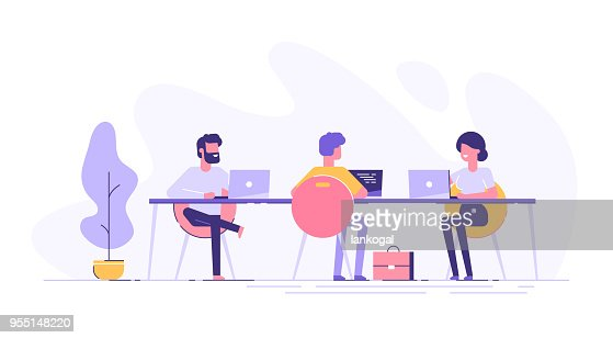 Coworking space with creative people sitting at the table. Business team working together at the big desk using laptops. Flat design style vector illustration. : Vector Art
