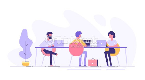 Coworking space with creative people sitting at the table. Business team working together at the big desk using laptops. Flat design style vector illustration. : stock vector