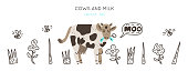 Cows and milk collection of hand drawn vector elements. Illustration made in doodle style. Set of objects for package, merch and other design. Vector Horizontal header web template.