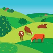 Green landscape. Freehand drawn cartoon outdoors style. Farming herd of brown cows on spring blooming meadow. Rural scene view with green grass on hills, fields, trees. Vector countryside background