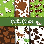 Set of seamless vector patterns with fun cute cow and cow skin texture. For poster, print, wallpaper, banner. backgrounds with grazing cows and cow dots
