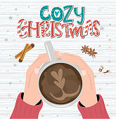 Cozy christmas poster with cup of coffee and spices. Editable vector illustration