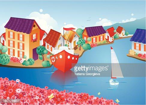 Cozy European town : Vector Art