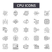 Cpu line icons, signs, vector set, outline concept linear illustration
