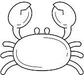Crab line icon isolated on white background. Vector line icon of healthy seafood - crab for infographic, website or app.