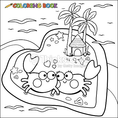 Crabs Walking On The Beach Coloring Book Page stock vector - Thinkstock